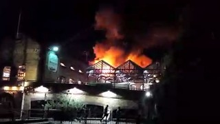 Camden Market Fire Lights Up Night Sky - Video