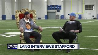 TJ Lang interviews Matthew Stafford in humorous exchange - Video