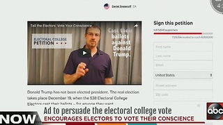 Group uses newspaper ads to call on electors to change votes - Video