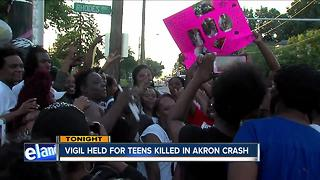 Vigil for two teen girls killed in firetruck crash in Akron - Video