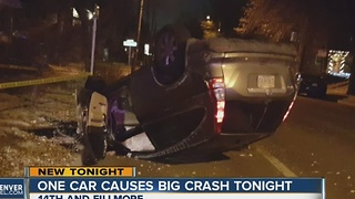 One car causes big crash in Congress Park - Video