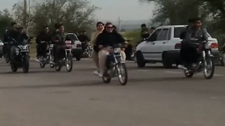 Girls in Iran not allowed to ride a motorbike in public - Video