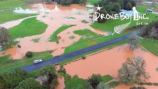 Drone Footage Shows Flooding in South Auckland Town of Pukekohe - Video