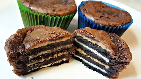 Brownies stuffed with Oreos and peanut butter