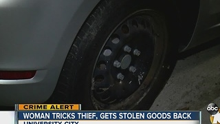 Woman tracks thief, gets stolen goods back - Video