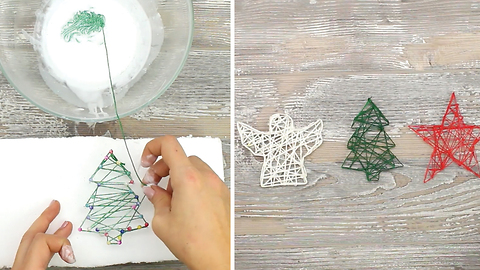 Easy DIY string ornaments for Christmas