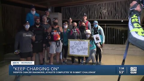 """Athlete with cancer completes """"10 summit challenge"""""""