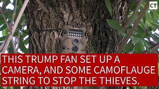 Trump Supporter Booby-Traps Trump Sign...Delivers Instant Justice To Lib Thief - Video