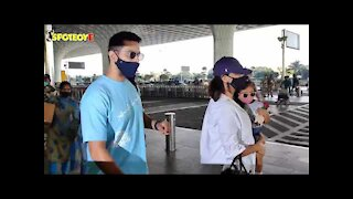 Neha Dhupia with Angad Bedi & daughter mehr snapped at the Airport   SpotboyE