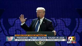 President Trump talking tough in Asia - Video