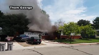 Firefighter transferred to hospital after Boise house fire - Video