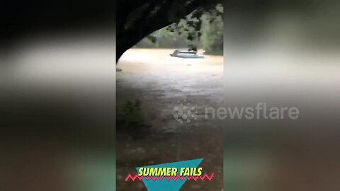 Pick-up truck fails to avoid torrential Washington DC-area flooding and gets totally submerged