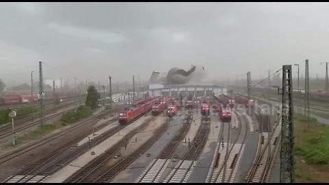 Storm tears roof off station in Germany