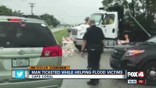 Man ticketed while helping stranded drivers - Video