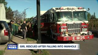 Young girl, 12, rescued after falling into sewer - Video
