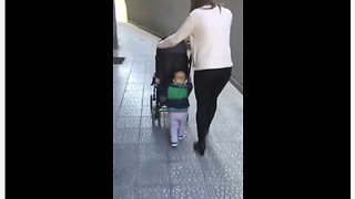Pro-Active Toddler Decides To Push His Own Stroller - Video