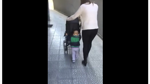 Pro-Active Toddler Decides To Push His Own Stroller