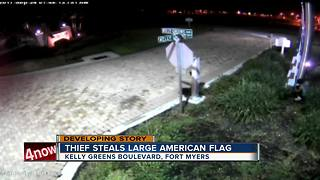 Thief steals large American flag - Video
