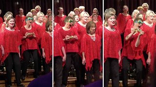 Sleighing it! Energetic singer's goofy dance moves in the middle of choir performance go viral