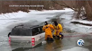 Incredible water rescue by firefighters caught on camera in Frenchtown Township