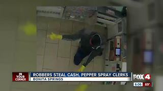 Armed Men Use Pepper Spray on Clerks During Robbery in Bonita Springs - Video