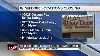 Three Southwest Florida Winn Dixie stores to close - Video