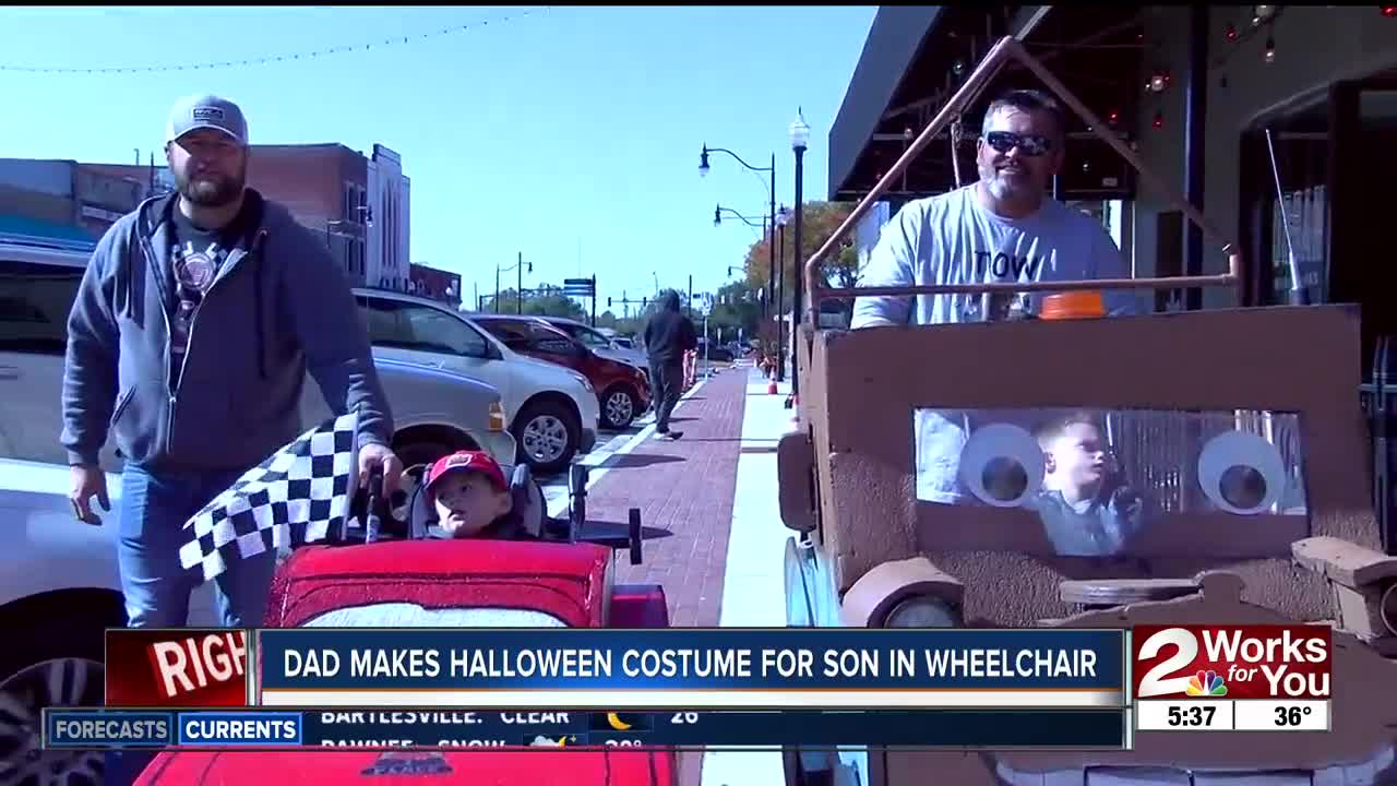 Dad makes Halloween costume for son in wheelchair