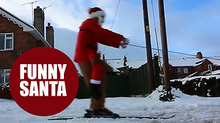 Hilarious moment Santa took advantage of the snow - Video