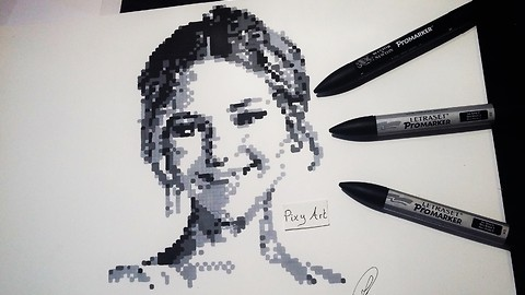 "This Jennifer Lawrence ""Pixel Art"" portrait is absolutely mind-blowing"
