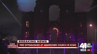 Fire burns through abandoned church in Kansas City's East Bottoms