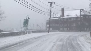 Driver Takes Blustery Cruise Through Winthrop - Video