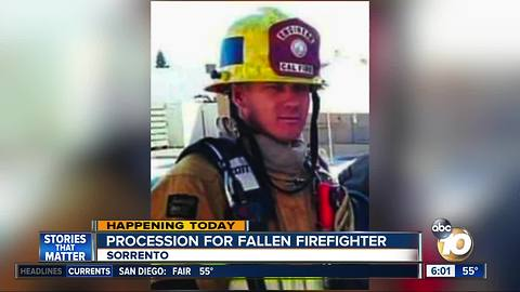 Procession for fallen firefighter to take place Sunday