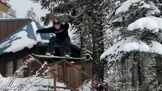 Talented snowboarder owns handrails at first attempt