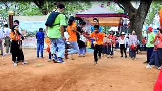 Funny Jumping Game In New Year Cambodia Angkor