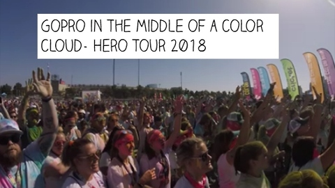 GoPro in the middle of a Color Cloud-The Color Run 2018