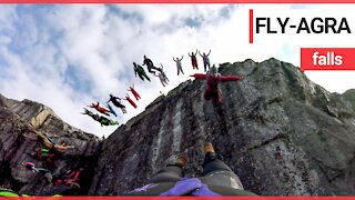 The mesmerising moment that a troop of BASE jumpers' leap from a cliff