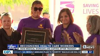 Health care workers presented to employees at hospitals - Video