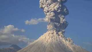 Column of Ash Seen After Colima Volcano Eruption - Video