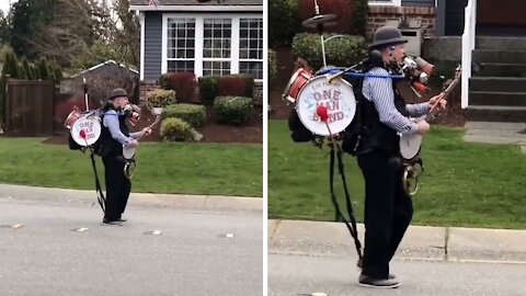 Amazing one-man band brings joy during COVID lockdown