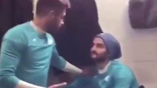 Football players' challenge in locker room - Iran - Video