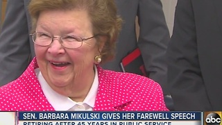 Sen. Barbara Mikulski gives farewell speech - Video