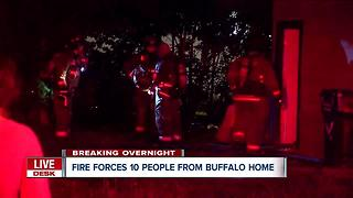 Ten people forced from Buffalo home after fire - Video