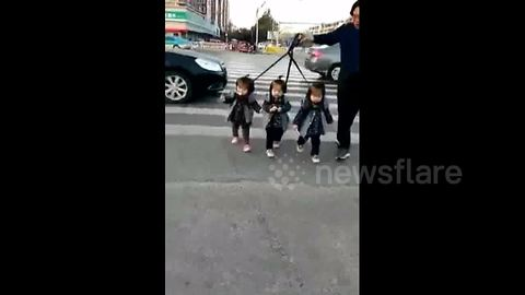 Grandfather holds triplets with leads to cross road