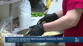 Conrad's Seafood restaurant remains open, offering delivery and carry out
