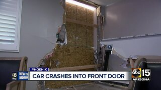 Car crashes into front door of Valley family's home