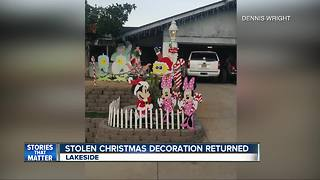 Stolen Christmas decoration from Lakeside home returned - Video