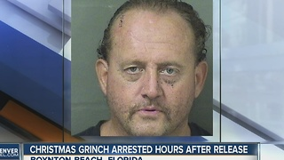 Christmas 'Grinch' arrested hours after release - Video