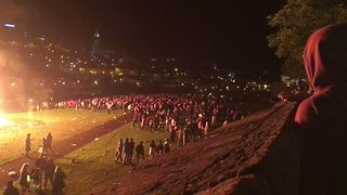 Bottles and Stones Thrown During Unauthorised Derry Bonfire - Video