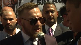 Conor McGregor's grand arrival before fight with Floyd Mayweather at T-Mobile Arena in Las Vegas - Video