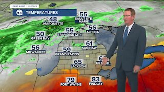 Clouds and cool temps stay